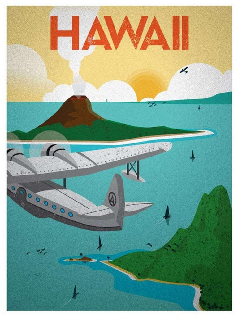 Vintage TEAL Seaplane Flights to Australia Poster A3//A4 Print