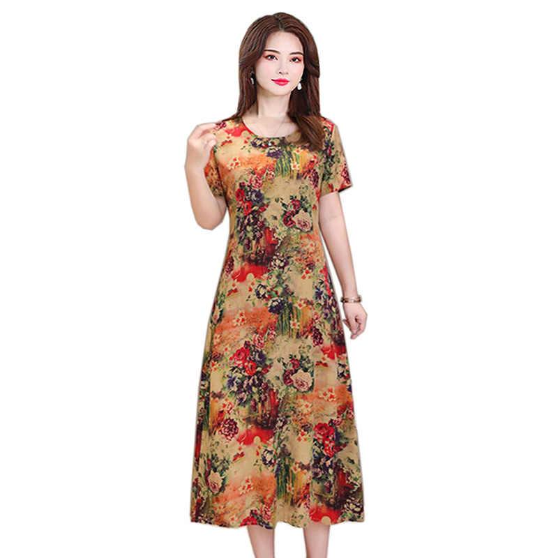 f6fc93bbc499b7 Robe d'été femmes à manches courtes lâche longue robe nouveau 2019 grande  taille 5XL
