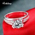 Hollow Anillos de compromiso de Boda anillos de compromiso de oro blanco plateado joyería al por mayor para las mujeres shine AAA CZ diamond VSR066