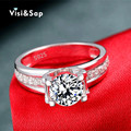Hollow Wedding Rings engagement anillos de compromiso white gold plated wholesale jewelry for women shine AAA CZ diamond VSR066