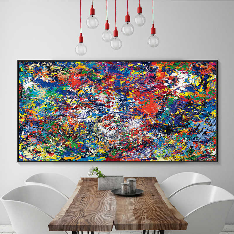 Modern Simple Abstract Color Splash Oil A4 Canvas Painting Art Print Poster Picture Wall Paintings Home Wall Decor