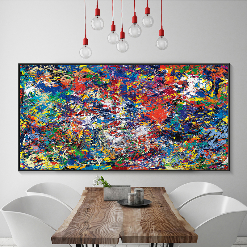 Big Canvas Art Modern Watercolor Abstract Ink Splash Big: Modern Simple Abstract Color Splash Oil A4 Canvas Painting