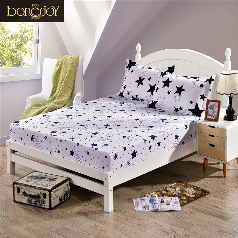 bonenjoy fitted sheet with elastic black and white stars printed king size mattress protector. Black Bedroom Furniture Sets. Home Design Ideas