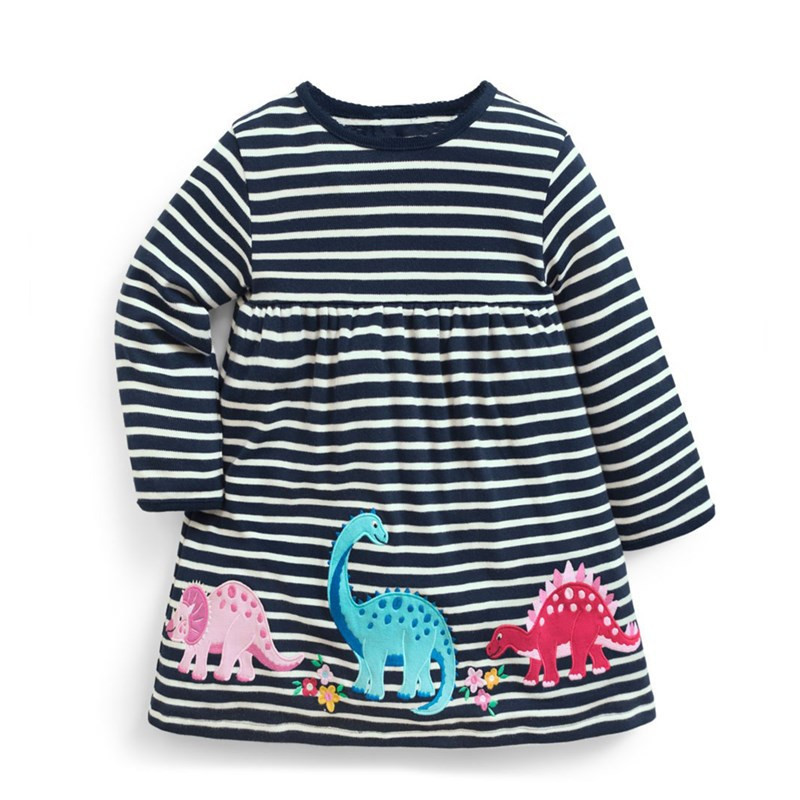 Jumping meters Dinosaur baby dresses girls autumn clothing applique animals autumn kids dresses long sleeve stripe child dress jumping meters top brand dresses girls baby new clothing cotton striped applique animals princess autumn spring kids dress girl