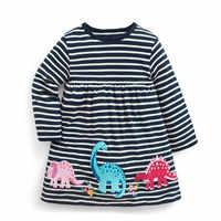 Saut mètres dinosaure bébé robes filles automne vêtements appliques animaux automne enfants robes à manches longues rayure enfant robe