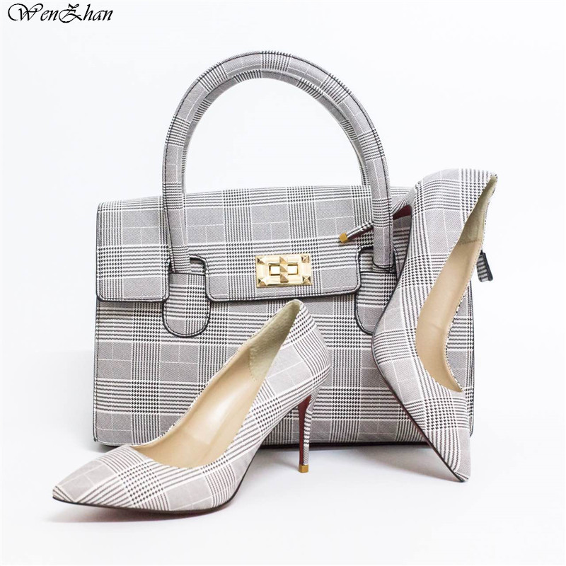 Newest Pumps With Handbag Sets Classic pattern of stripe Stronger Heel Pointed Toe Soft Shoes With Bag Custom Heel Accept!A87-19 classic stripe pattern loose fit shirt