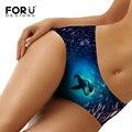 Forudesigns fancy mujeres sexy underwear marca seamless bragas de impresión de delfines animales adolescente señora girls panties breve más el tamaño