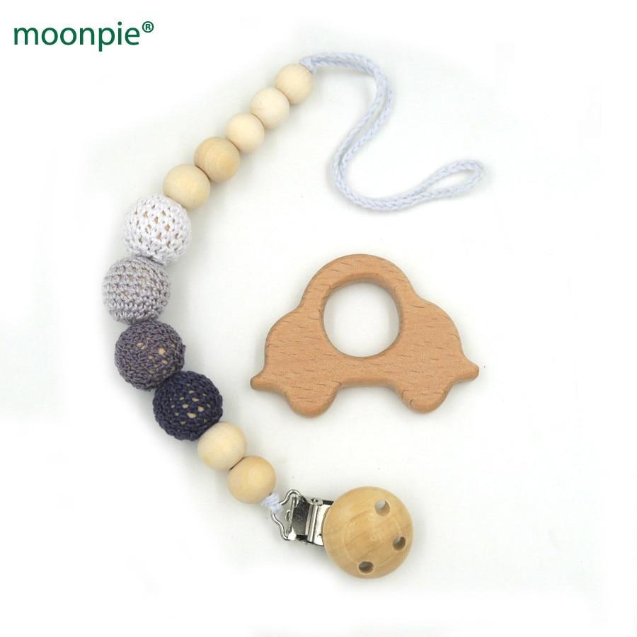 טבעית מוצץ קליפ בעל דמה בטוח מעץ crochet חרוזים גוון של אפור הטון beech רכב teether להגדיר תינוק התינוק תיבת מתנה NT172
