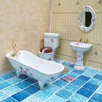 1:12 Simulation Pure white gold braided ceramic bathroom DOLLHOUSE MINIATURE Pretend Play Furniture Mini Toys Household set