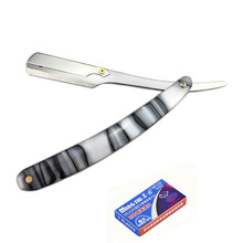 1 Razor 5 Blades New Men Shaving Straight Manual Barber Razors Stainless Steel Blade Acrylic Handle