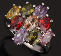 Prominent 9 Pcs Multicolor Brown Morganite Garnet Amethyst Silver Stamped 925 Women S Snake Jewelry Ring