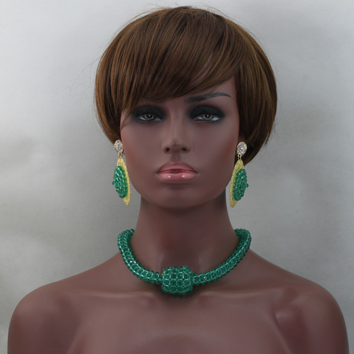Simple Green Choker Crystal Necklace Set Handmade African Women Chunky  Bride Gift Jewelry Set Wholesale Free Shipping QW270Simple Green Choker Crystal Necklace Set Handmade African Women Chunky  Bride Gift Jewelry Set Wholesale Free Shipping QW270