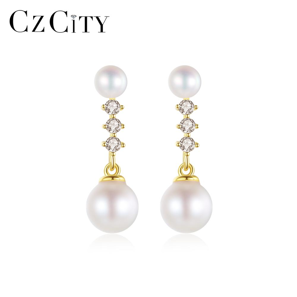CZCITY Exquisite Real 14k Yellow Gold Luxury Fine Jewelry Natural Freshwater Pearls Drop Earrings for Women Anniversary E14055