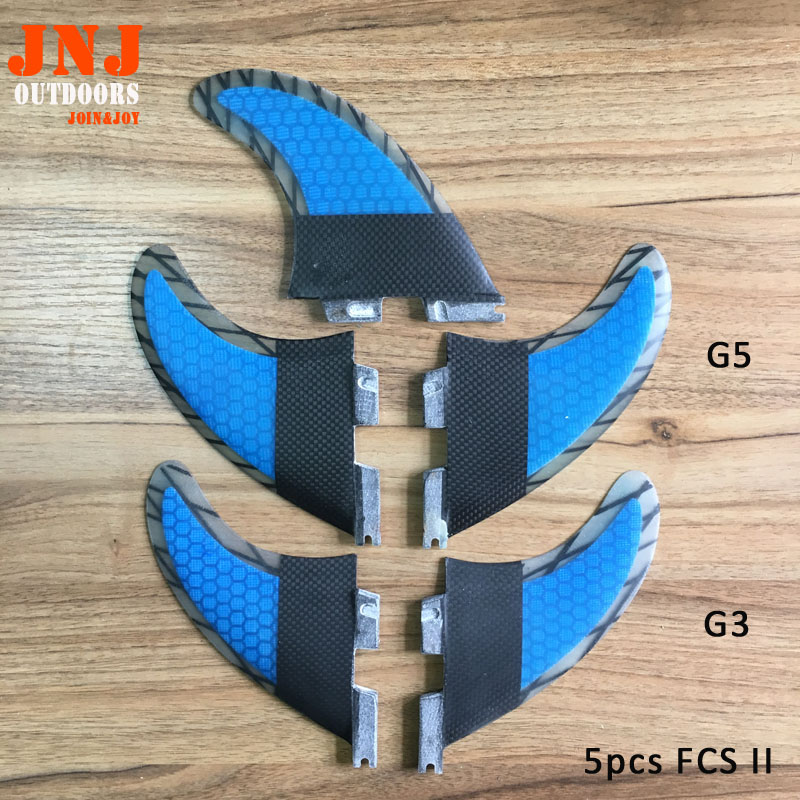 5pcs quality FCS II fins G5+G3 made of carbon and honeycomb for surfing 002 size 3PCS- M+2PCS-S