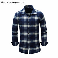 Maomaoleyenda Brand Clothing Men S Plaid Casual Shirt Denim Shirt Full Sleeve Easy Care Shirt For