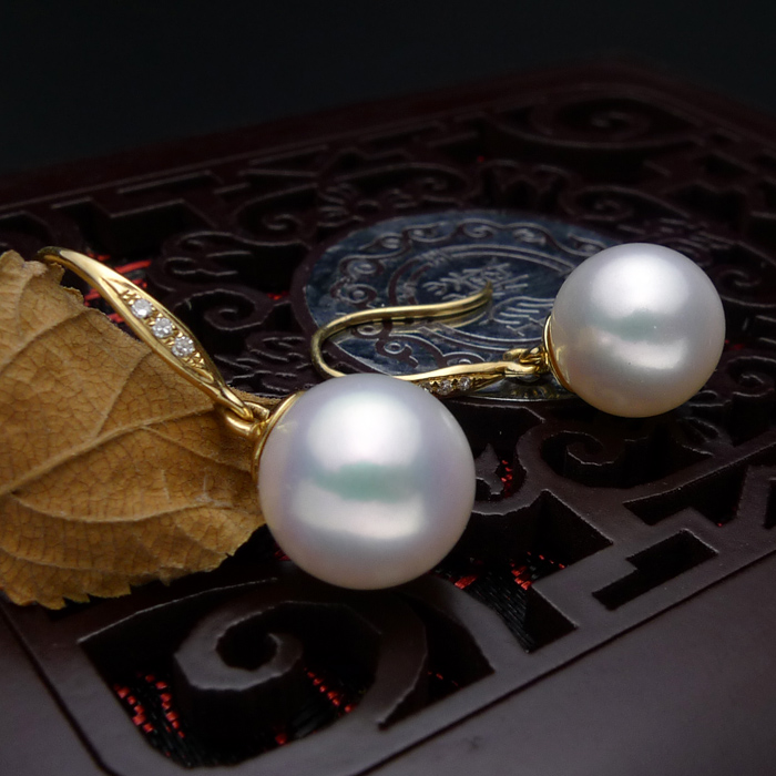 925 silver real natural big inlaid natural South African , super mirror light, natural pearl earrings, jewelry g earrings