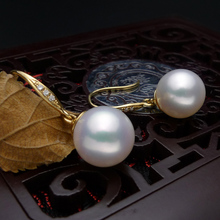 925 silver real natural big   inlaid natural South African , super mirror light, natural pearl earrings, jewelry g