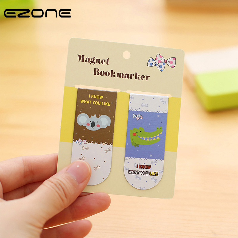 EZONE 2PCS Bookmark Printed Kawaii Lion Cat Koala Book Holder Magnet Candy Color Book Marks For Reading School Office Supplies