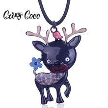 Cring Coco Top Quality Enamel Zinc Alloy Sika Deer Shape Pendants Necklaces Boys Girls Christmas Gifts for Female Jewelry Chain