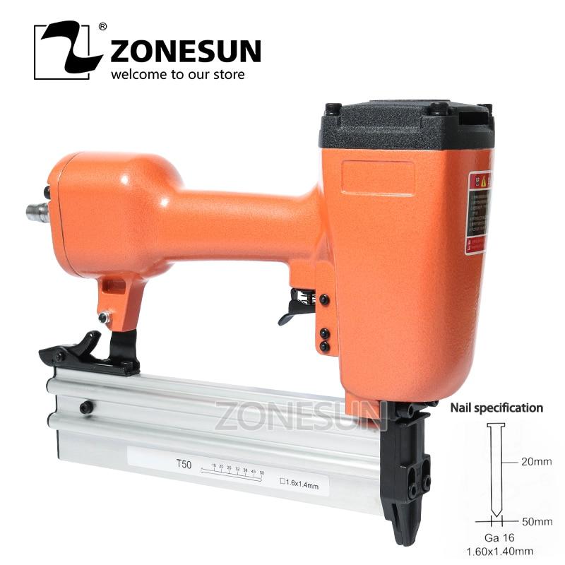 ZONESUN Pneumatic Air Stapler Nail Gun Nail Stapling Machine Nailer For Furniture Wood Working Carpentry Decoration Carpenter