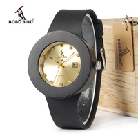 BOBO BIRD C03 Ebony Wooden Watch With Genuine Leather Band Quartz Analog Calendar High Quality Miyota