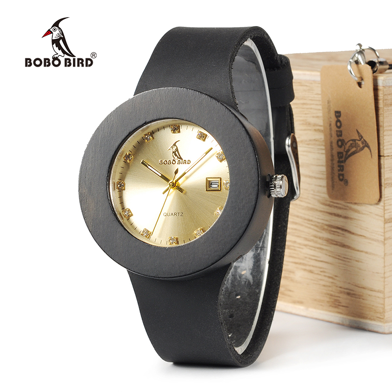 BOBO BIRD C03 Ebony Wooden Watch with Soft Leather Band Quartz Gold Analog Calendar High Quality Miyota Movement Accept OEM bobo bird brand new sun glasses men square wood oversized zebra wood sunglasses women with wooden box oculos 2017