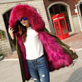 New Women's Colorful Real Rabbit Fur Overcoat  Hem Luxury Long Fur Jackets Women Coat Female