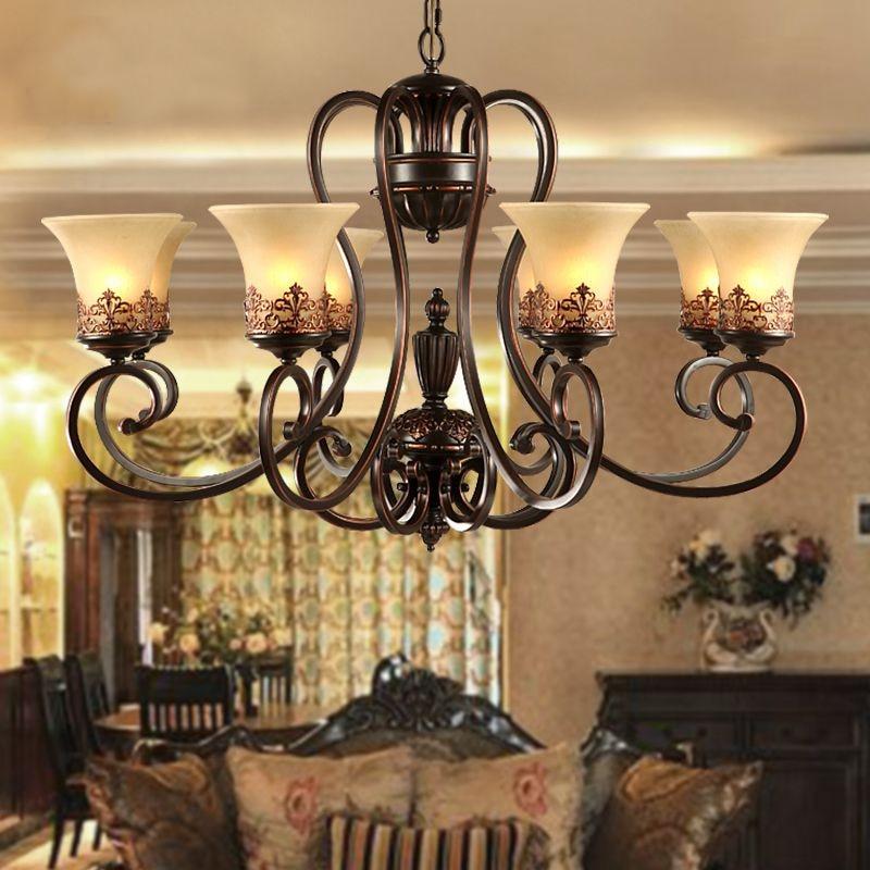 antique black wrought iron chandelier rustic Arts & Crafts Bronze Chandelier  with 8 Lights Cream shade - Popular Antique Wrought Iron Chandelier-Buy Cheap Antique Wrought