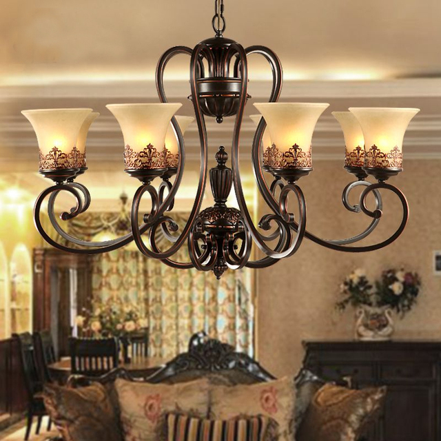 Antique Black Wrought Iron Chandelier Rustic Arts Crafts Bronze With 8 Lights Cream Shade