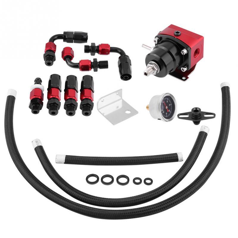 Universal Adjustable Fuel Pressure Regulator Kit Oil 0 100psi Gauge AN 6 Fitting End High Quality