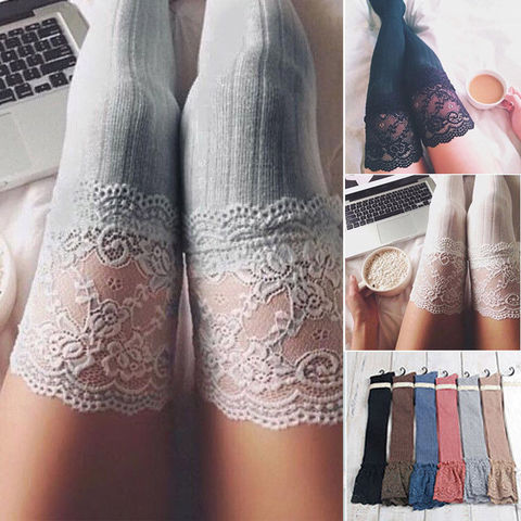 New Fashion 3 Colors Striped Thigh High Stockings Women Lace Sexy Cotton Stocking Autumn spring  Knee Socks Over The Knee Islamabad