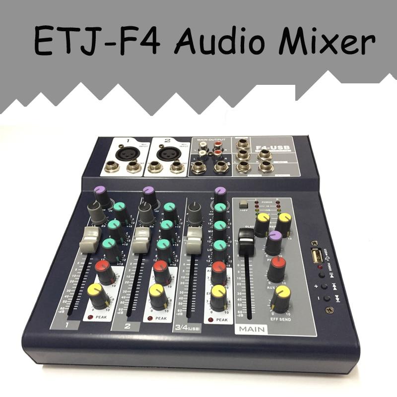 etj brand 4 channels audio mixer with usb input sound console dj equipment 48v phantom power. Black Bedroom Furniture Sets. Home Design Ideas