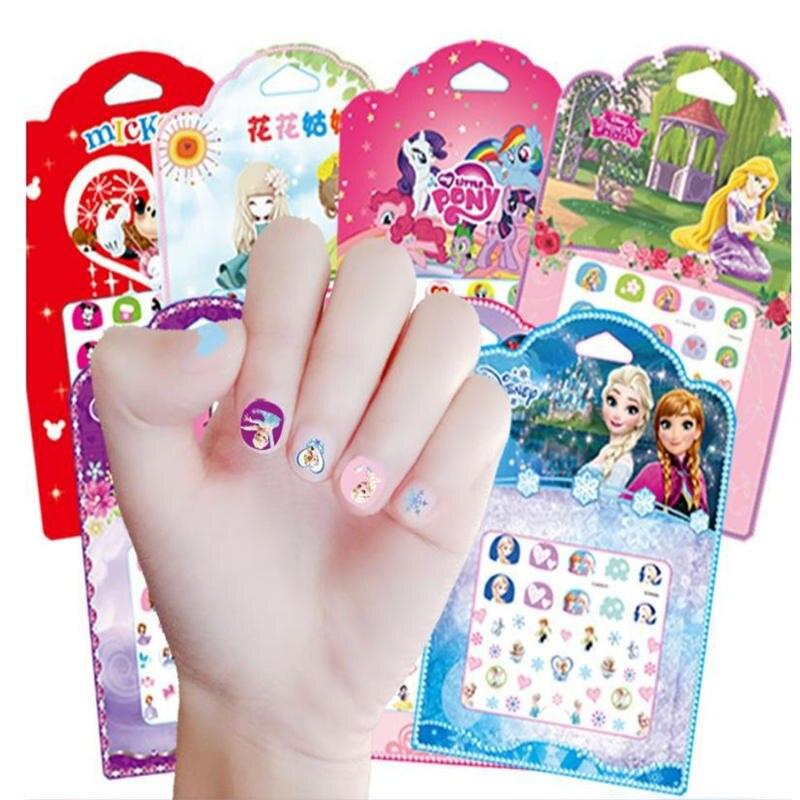 Disney Cartoon Nail Sticker Set Frozen Princess Child Girl Manicure Sticker Mickey Toy Sticker Elsa And  Anna