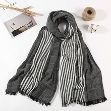 Scarf Men High Quality Long Fashion Blue Black Color Striped