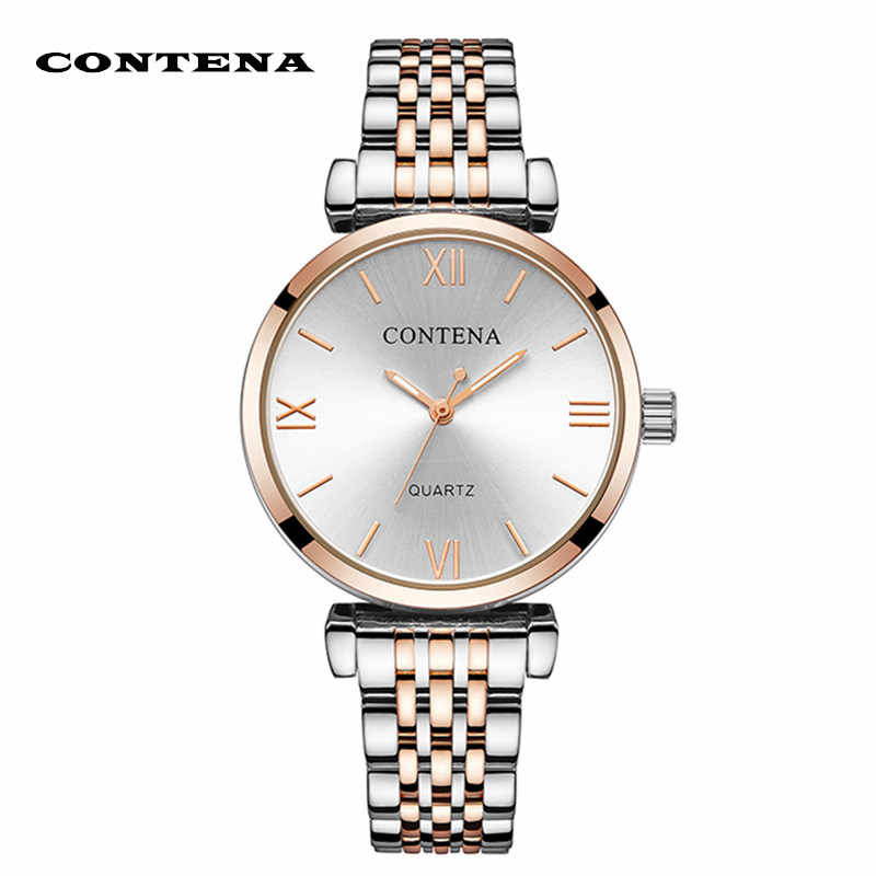Women Wristwatch Contena Luxury Buniness Rhinestone Full Steel Women's Watches Quartz Saati Montre Femme Relojes Mujer Clock