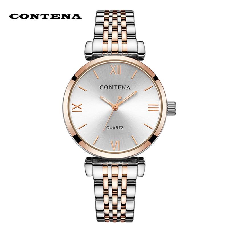 Montre-bracelet Femme Contena luxe Buniness strass montres femmes en acier Quartz Saati Montre Femme Relojes Mujer horloge