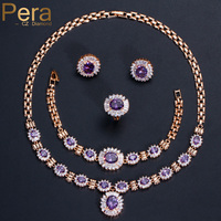 Pera 4 Piece Luxury Gold Color Nigerian Women Wedding Accessories Purple Cubic Zirconia Stone Bracelet And Ring Jewelry Set J084