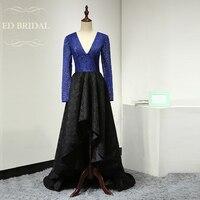 İki Ton Kraliyet Mavi ve Siyah Dantel Yüksek Düşük Gelinlik Modelleri Uzun Kollu Akşam Parti Elbise Asimetrik Örgün Önlük