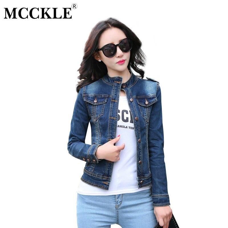 MCCKLE WOMEN Store MCCKLE Women's Blue Denim Jacket Coats 2017 Autumn Stand Collar Slim Short Jeans Jacket Women Long Sleeve Pockets Outwear