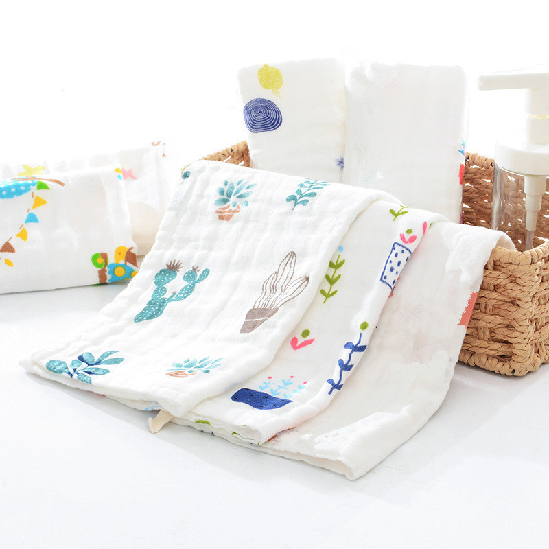 10PCS 6 Layers High-Density 100% Cotton A Class Muslin Gauze Wipe Cloth Baby Handkerchief Face Towel Baby Saliva Towel 25x50cm