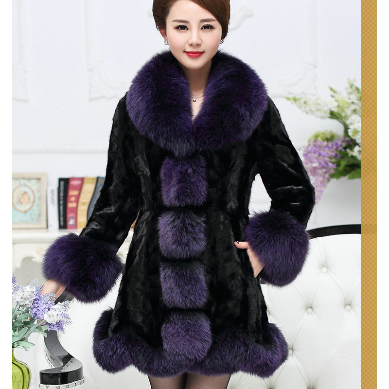 Noble and Elegant Natural Mink Fur Coats Outerwear Women Fashion Real Fur Jacket With Large Fox Fur Collar Trim Cuff 2018 Winter