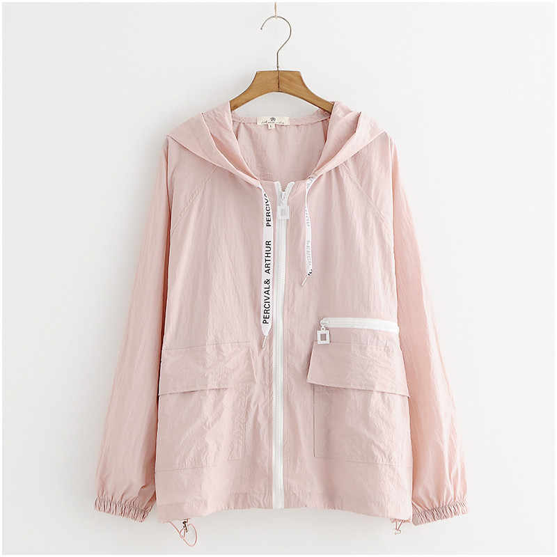 319063bc388a ... Thin Summer Jacket Sunscreen Coat Women Clothes Female Big size Korean  Student Women Top Hooded Harajuku ...