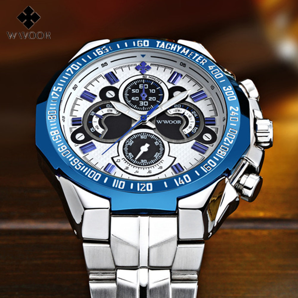 b0e1c3812f8 2017 Moda Homens Relógio WWOOR Mens Relógios Top Marca de Luxo Relógio de  Quartzo Relógio Do Esporte À Prova D  Água Masculino Relógio Relogio  masculino em ...