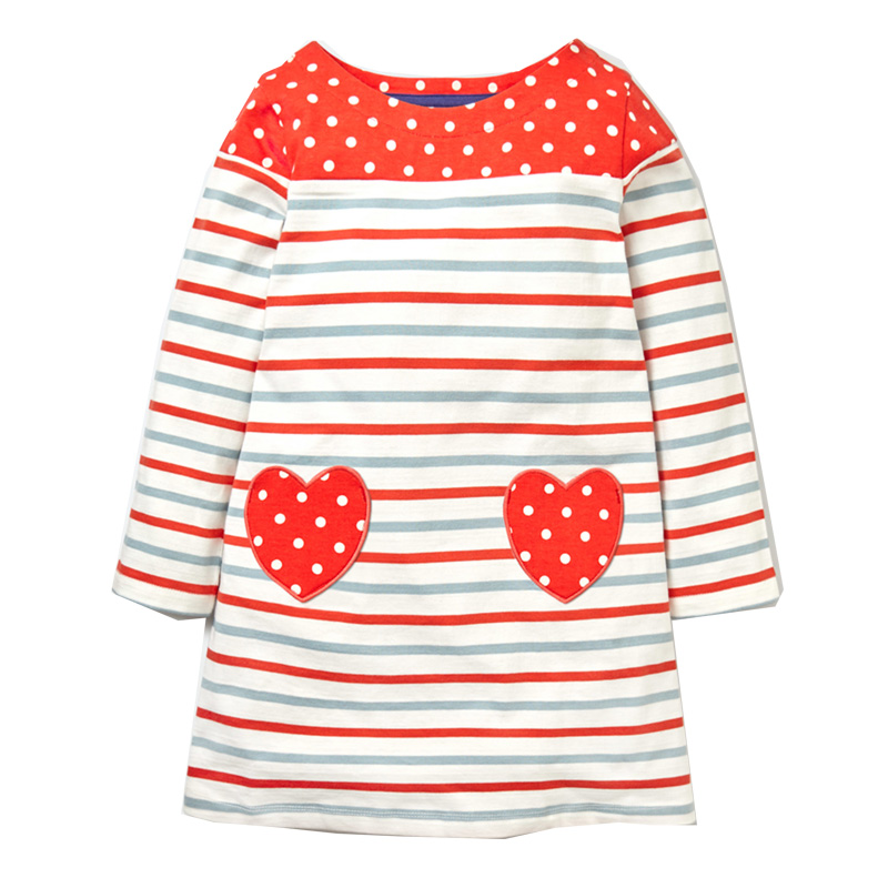 Princess Dress 2017 Brand Baby Girls Dresses with Animal Appliques 100% Cotton Casual Tunic Children Dress Kids Clothes Vestidos girls set with applique animal dress