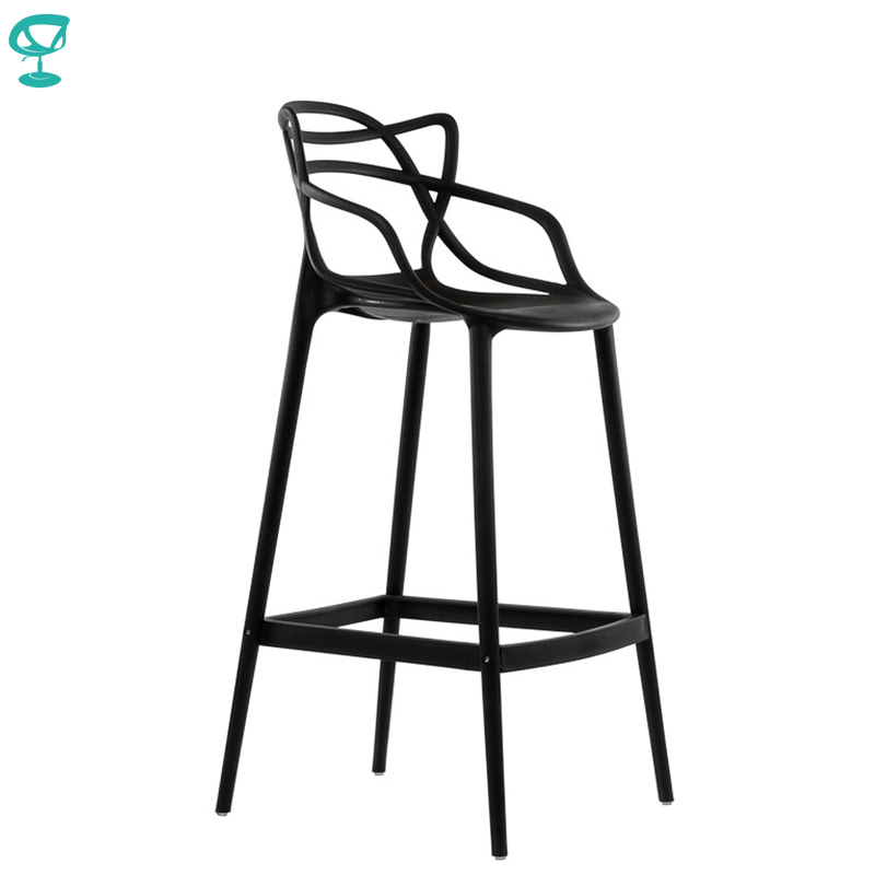 95235 Barneo N-235 Plastic High Kitchen Breakfast Bar Stool Swivel Bar Chair Black Free Shipping In Russia