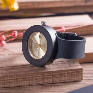 Image 3 - BOBO BIRD C03 Ebony Wooden Watch with Soft Leather Band Quartz Gold Analog Calendar High Quality Miyota Movement Accept OEM
