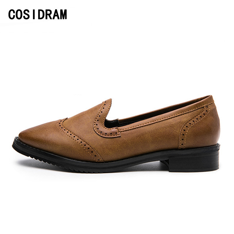 COSIDRAM Plus Size 41 Women Oxfords Genuine Leather Pointed Toe Women Flats Slip On Spring Autumn Fashion Women Shoes BSN-027 new 2017 spring summer women shoes pointed toe high quality brand fashion womens flats ladies plus size 41 sweet flock t179