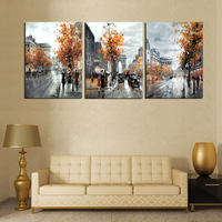 3 Panel Painting Calligraphy Vintage Abstract City Street Landscape Painting Canvas Wall Pictures For Living Room
