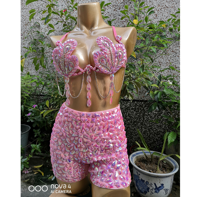 Samba Carnival Bra High Waist Pants Pink Color Stone Hand Made 2 Piece Set Dance Party Wear