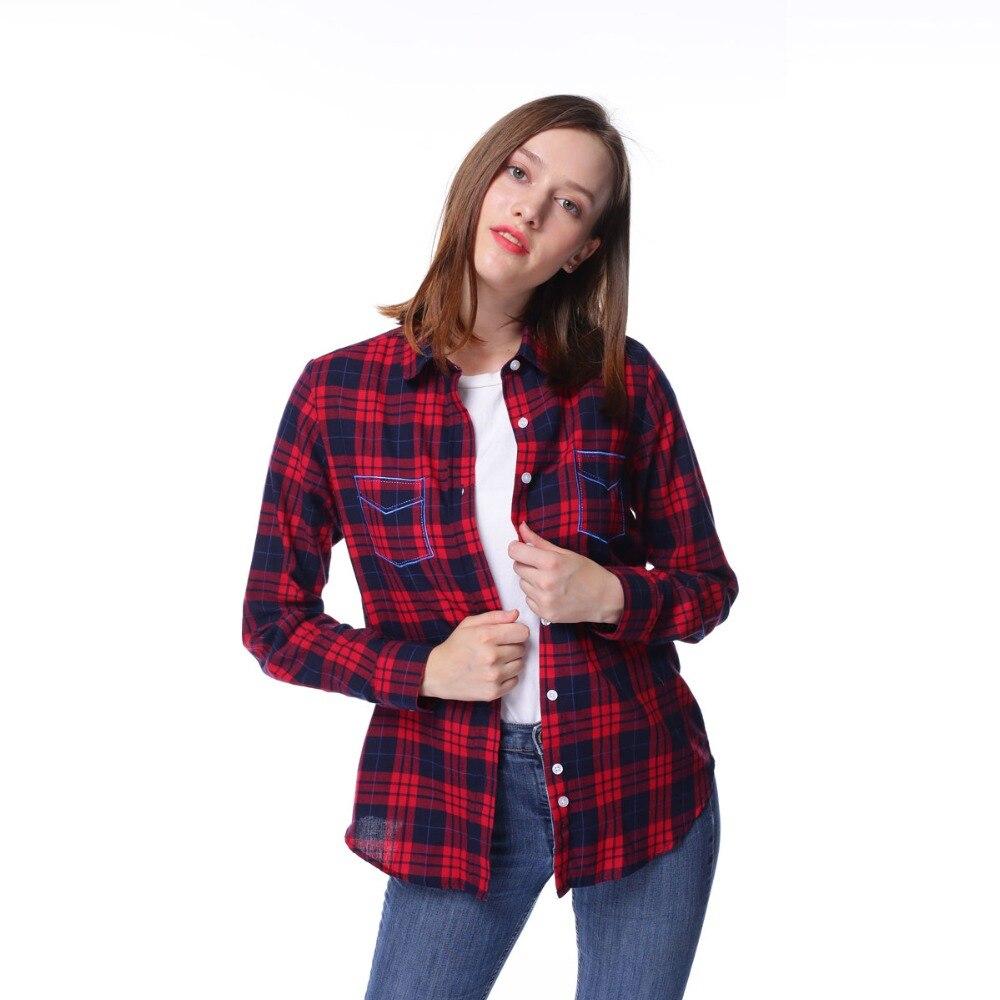Dioufond Dámská kostkovaná košile 2017 Podzimní Ležérní halenka s dlouhým rukávem Ztlumte límec